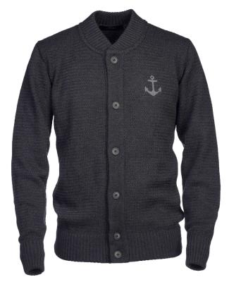 Anchor Merino Knit Cardigan Grey