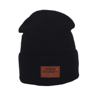 Buy Snowleader Leather Beanie Black