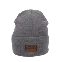 Achat Snowleader Leather Beanie Light Grey Heather