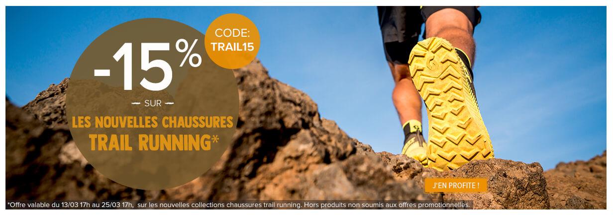 -15% sur les nouvelles collections chaussures trail running.