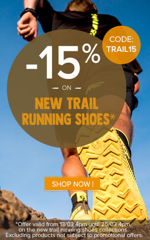 15% off on the new trail running shoes collections.