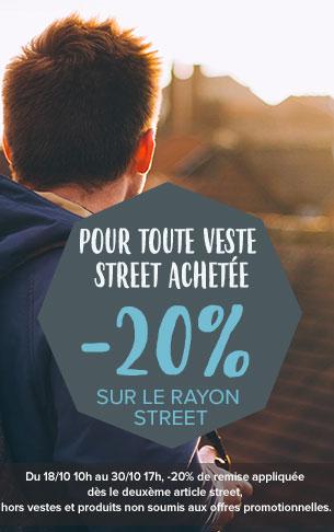 Pour toute veste streetwear achetée, -20% sur le rayon street