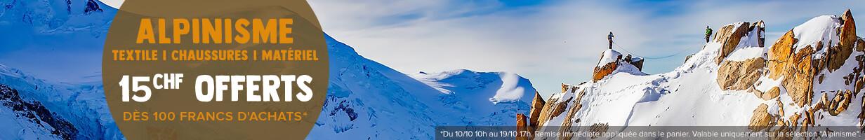 15€ offerts dès 100€ d'achats sur notre sélection Alpinisme!