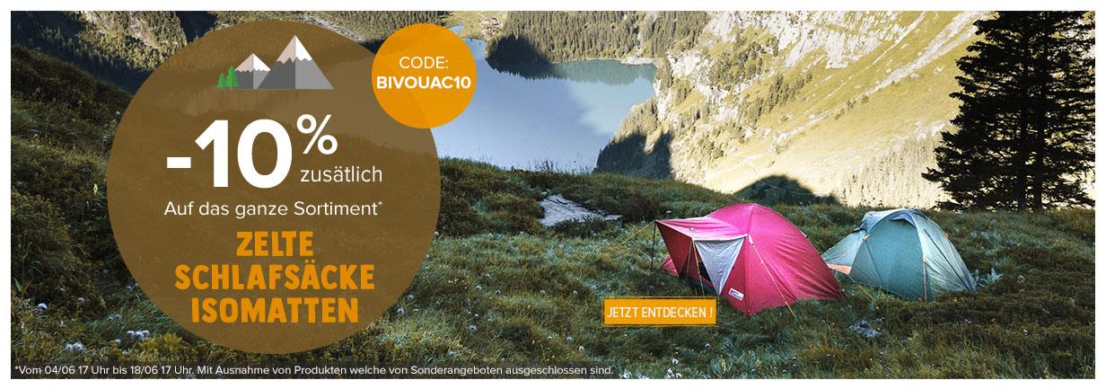 -10% zusätslich auf das Ganze Sortiment Zelte, Schlafsäcke, Inletts!