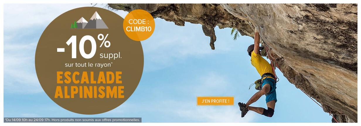 10% suppl. sur le rayon Escalade/Alpinisme!