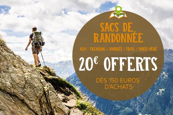 20€ offerts pour 150€ d'achats sur les sacs de randonnée