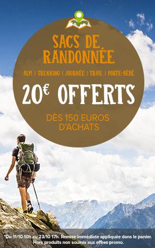 20€ offerts dès 150 euros d'achats sacs de randonnée !
