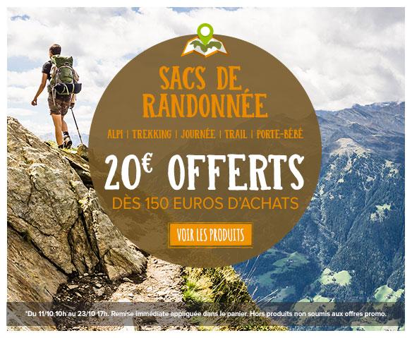 -20€ offerts dès 150€ d'achats sur le rayon Sacs de randonnée
