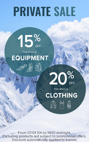 Private Sale : 15% off the equipment and 20% off the clothing !