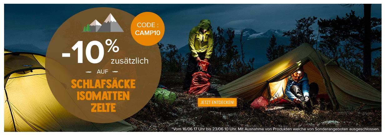 -10% zusätzlich auf Schalsäcke, Isomatten und Zelte