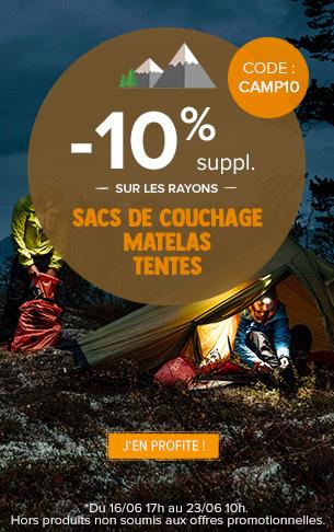 -10% supplémentaires sur les rayons Sacs de couchage, Matelas et Tentes