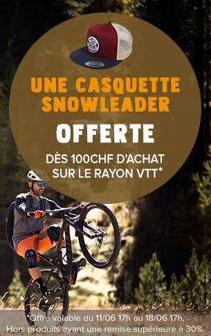 Une casquette Snowleader offerte dès 100 CHF d'achat sur le rayon VTT.