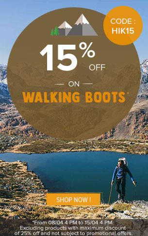 15% off on Walking boots : Meindl, Millet, Salomon…