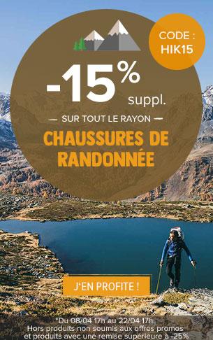 -15% supplémentaires sur tout le rayon Chaussures de randonnée