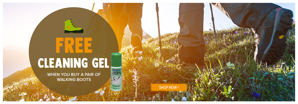 A free cleaning gel when you buy a pair of walking boots !