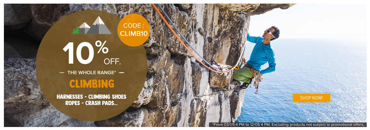 10% off on Climbing: harnesses, ropes, shoes…