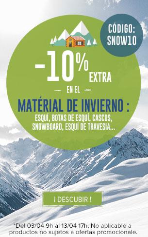 -10% extra en el Matérial de Invierno : Esqui, Snowboard, Esqui de Travesia