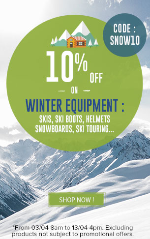 10% off on winter equipment : Ski, Snowboard, Ski Touring…