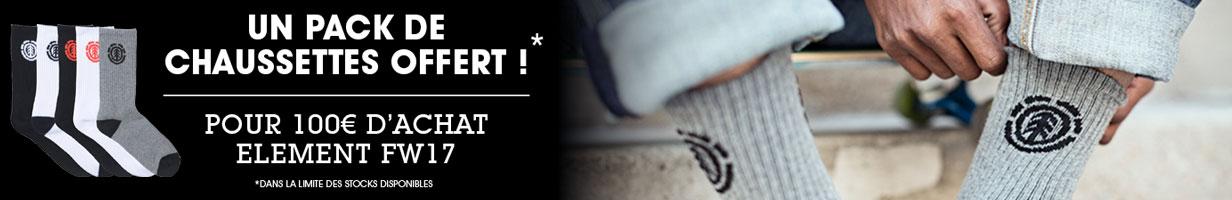 Un pack de chaussettes offert pour 100€ d'achat Element