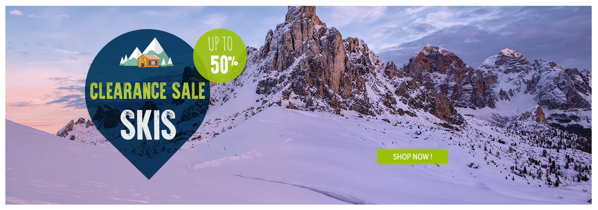 Clearance sale skis, up to 50%!