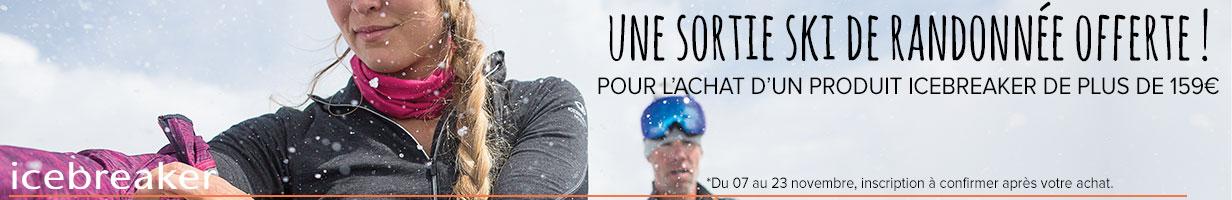 une sortie ski de rando offerte pour l'achat d'un produit Icebreaker à plus de 150€ !