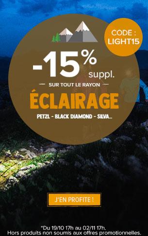 -15% supplémentaires sur le rayon Eclairage : Petzl, Black diamond, Silva…