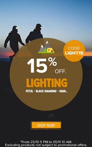 15% off Lighting : Petzl, Black Diamond, Silva…