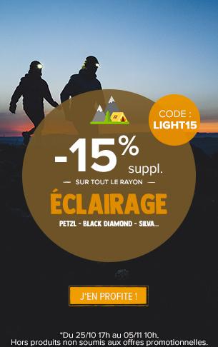 -15% -15% supplémentaires sur le rayon Eclairage : Petzl, Black diamond, Silva…  sur le rayon trail running !