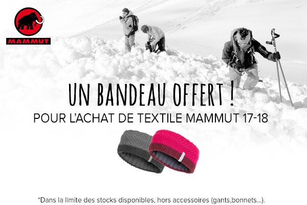 Un bandeau offert sur l'achat de votre textile Mammut 17/18