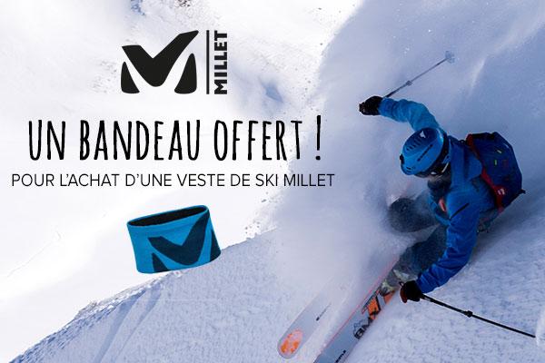 Un bandeau offert sur les vestes de ski Millet