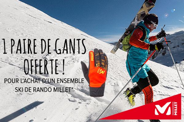Un gant offert pour l'achat d'un ensemble ski de rando Millet