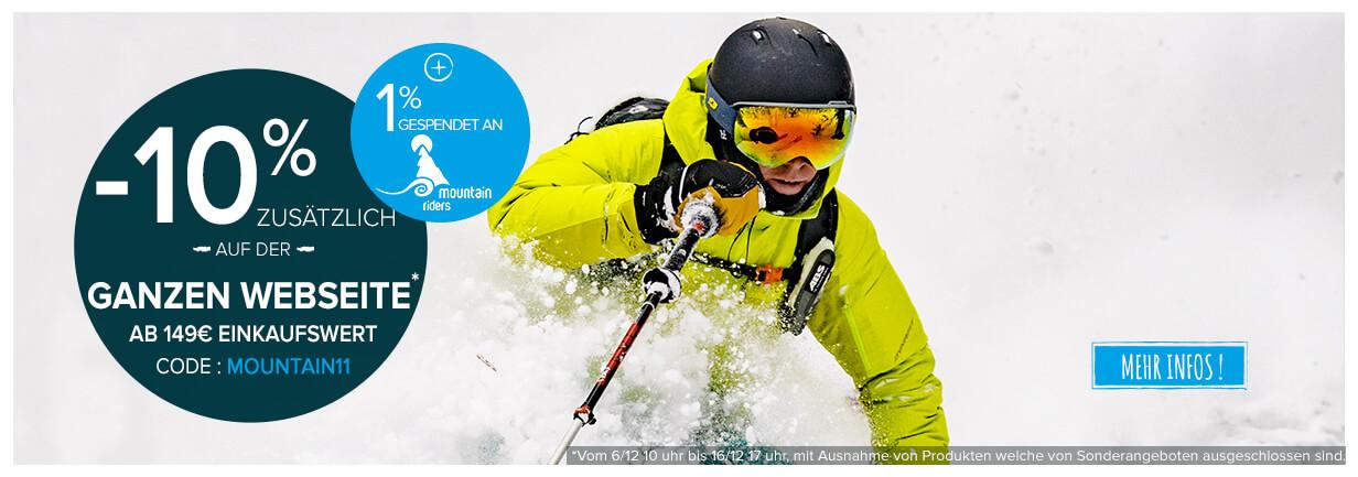 -10% zusätzlich auf der ganzen webseite ab 149€ einkaufswert ! +1% gespendet an Mountain Riders !