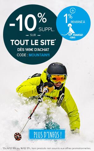 -10% supplémentaire sur tout le site dès 149€ d'achat ! +1% reversé à Mountain Riders !