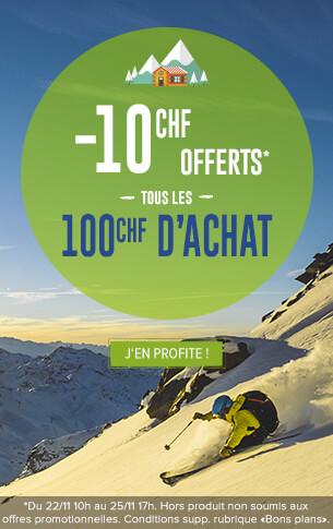 -10€ offerts tous les 100€ d'achats sur l'ensemble du site !