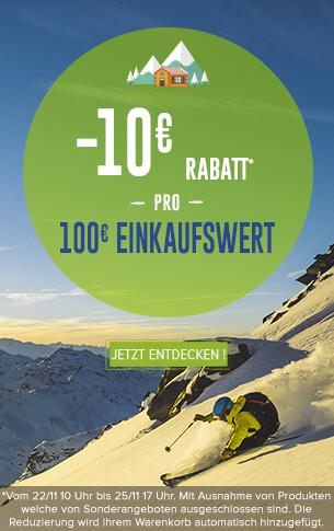 10€ Rabatt pro 100€ Einkaufswert auf die ganze Website !