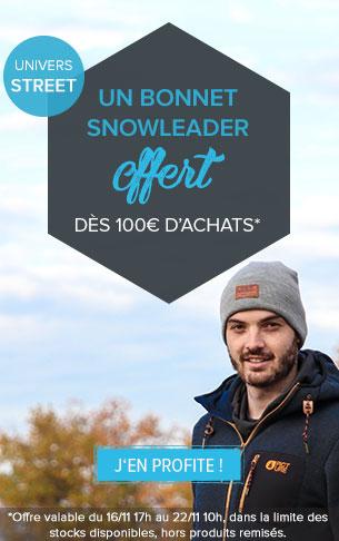 Un bonnet Snowleader offert dès 100€ d'achats sur tout l'univers Street !