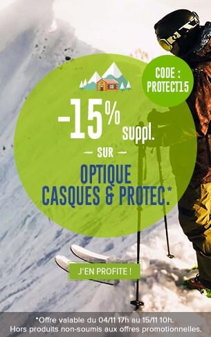 -15% supplémentaires sur les rayons Optique et Casques & Protections