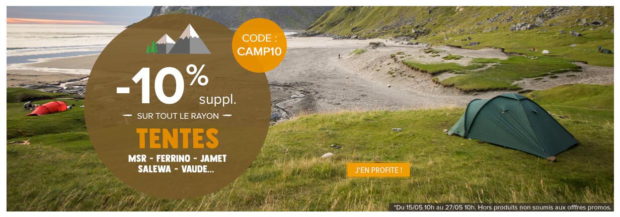 -10% supplémentaires sur tout le rayon Tentes : Msr, Ferrino, Jamet..