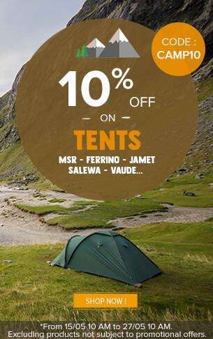 10% off on Tents : Msr, Ferrino, Jamet…