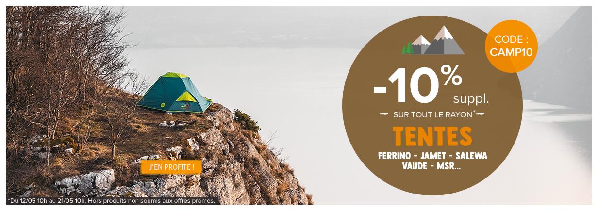 10% supplémentaires sur le rayon tentes !