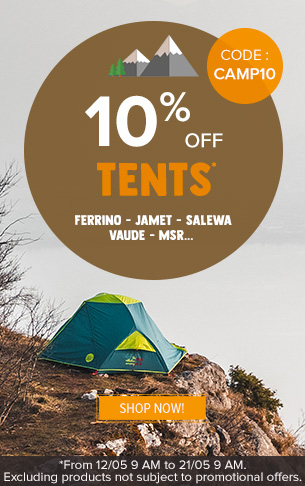 10% off on Tents : Msr, Ferrino, Jamet…