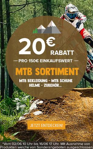 20€ Rabatt pro 150€ Einkaufswert MTB Sortiment
