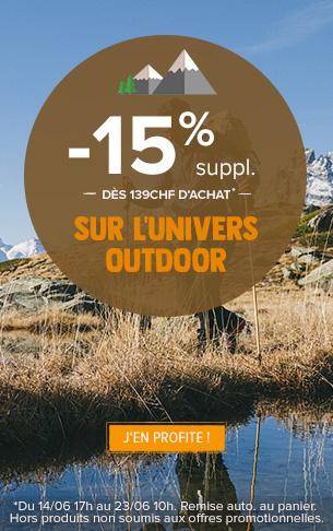 -15% supplémentaires dès 139CHF d'achat sur tout l'univers Outdoor
