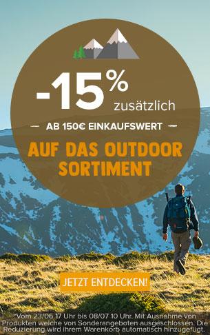-15% zusätzlich ab 150€ einkaufswert auf das Outdoor sortiment