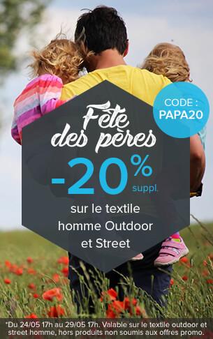 -20% supplémentaires sur le textile homme outdoor et street