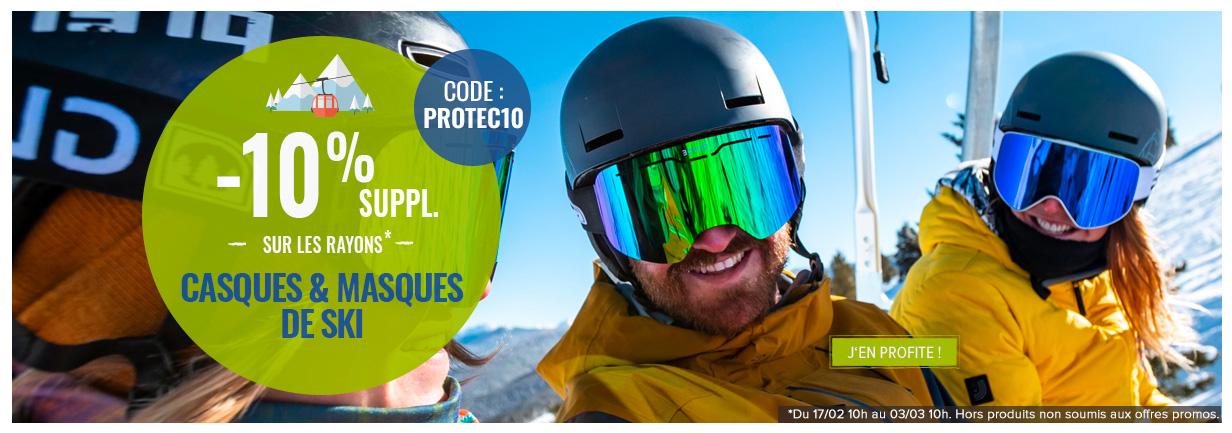 -10% supplémentaires sur les rayons Casques et Masques de ski