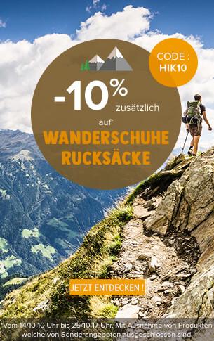 -10% zusätzlich auf wanderschuhe und rucksäcke