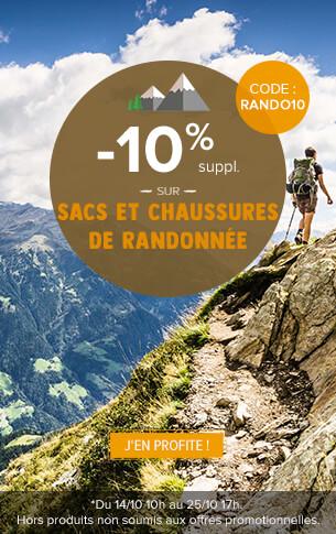 - 10% supplémentaires sur les rayons sac à dos et chaussures de randonnée !