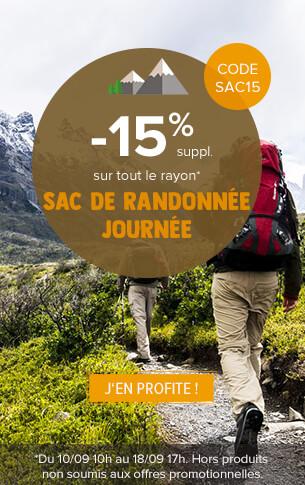 - 15% supplémentaires sur tout le rayon sac à dos randonnée journée !