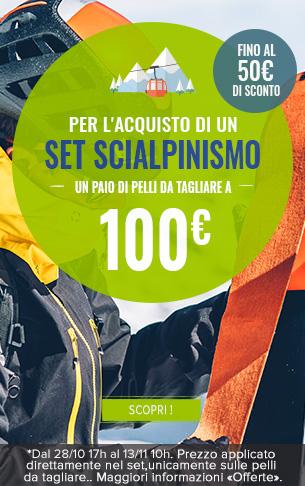 Per l'acquisto di un set scialpinismo, un paio di pelli da tagliare a 100€